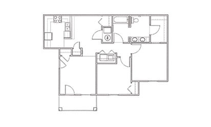 Dogwood - 2 bedroom floorplan layout with 1 bath and 923 square feet