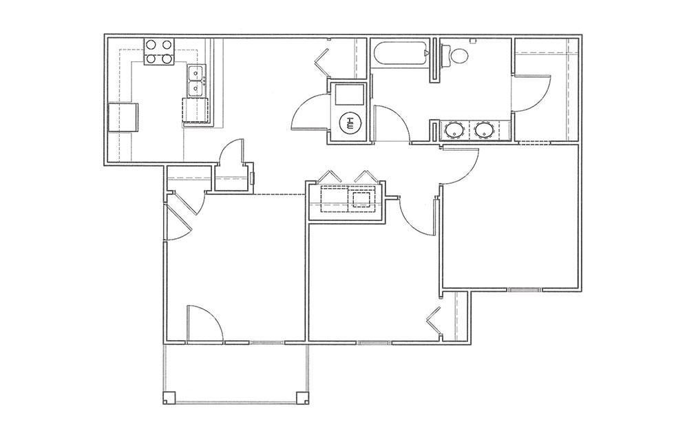 Dogwood - 2 bedroom floorplan layout with 1 bath and 923 square feet (1st floor 2D)