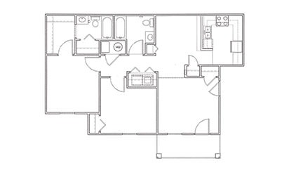 Live Oak - 2 bedroom floorplan layout with 2 bath and 960 square feet