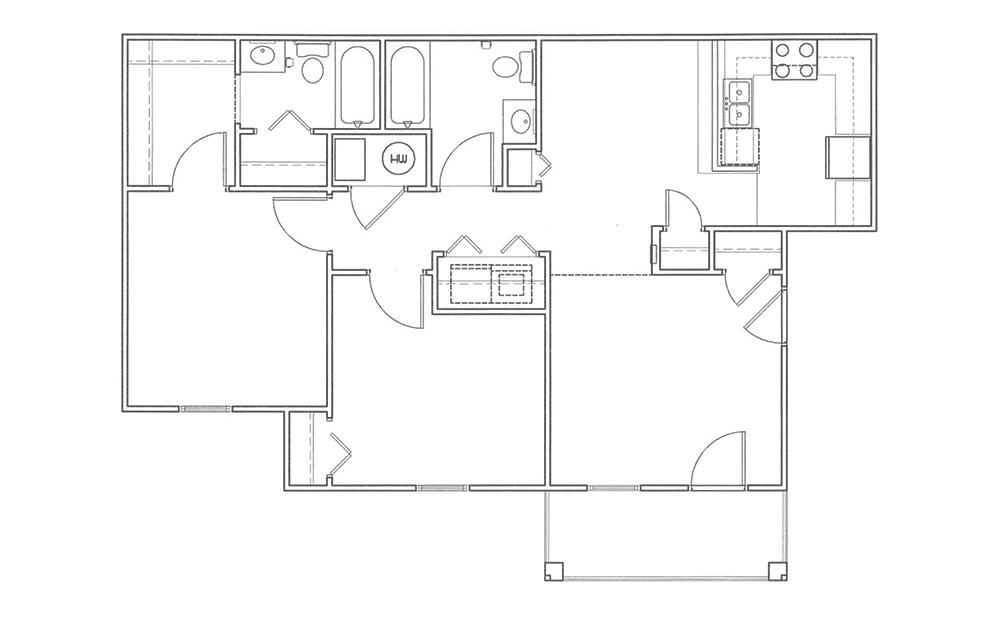 Live Oak - 2 bedroom floorplan layout with 2 bath and 960 square feet (1st floor 2D)