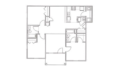 Magnolia - 3 bedroom floorplan layout with 2 bath and 1150 square feet