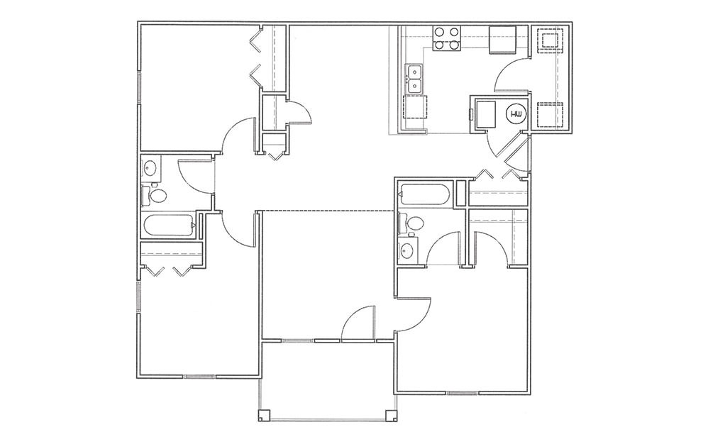 Magnolia - 3 bedroom floorplan layout with 2 bath and 1150 square feet (1st floor 2D)