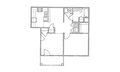 Redbud - 1 bedroom floorplan layout with 1 bath and 703 square feet