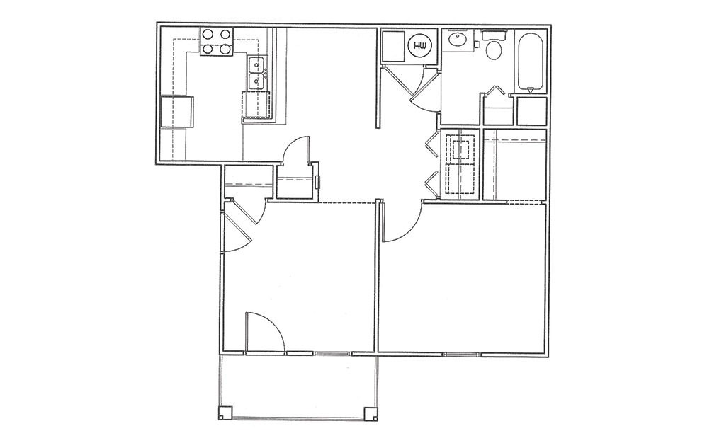 Redbud - 1 bedroom floorplan layout with 1 bath and 703 square feet (1st floor 2D)